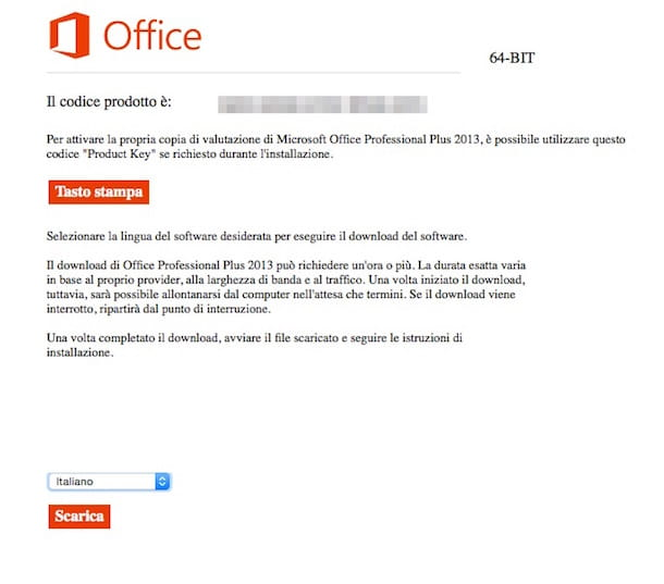 Screenshot che mostra come scaricare Office 2013