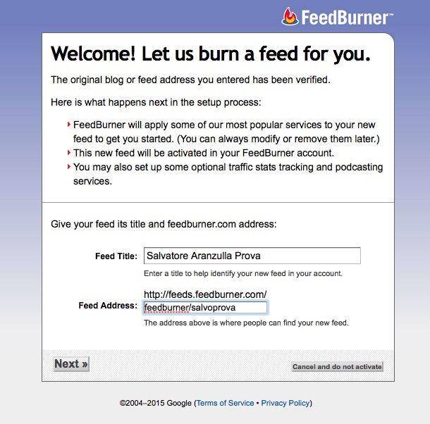 Screenshot che mostra come creare feed RSS