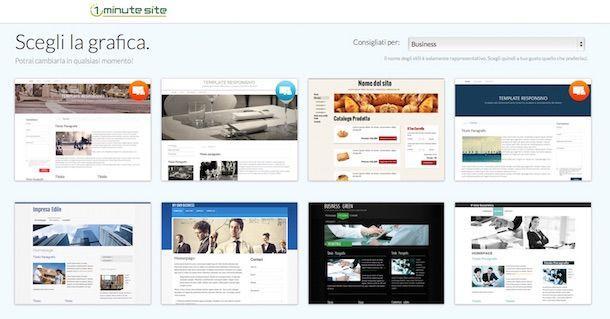 Screenshot che mostra come aprire un sito gratis con 1 Minute Site