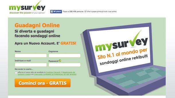 Screenshot che mostra come guadagnare con i sondaggi tramite MySurvey