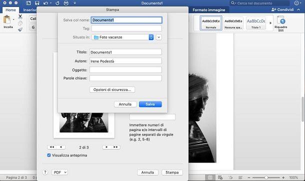 Trasformare foto in PDF con Word da Mac