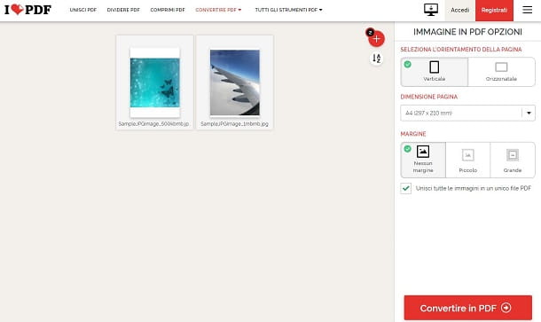 Trasformare foto in PDF con iLovePDF