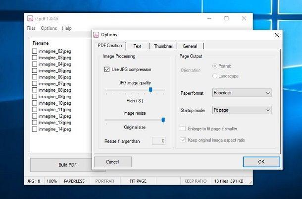 Trasformare foto in PDF su PC con i2pdf