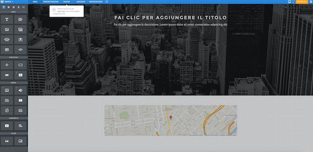 Screenshot del servizio online Weebly