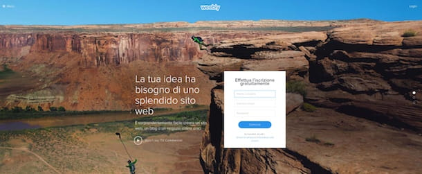 Screenshot che mostra come creare sito Internet gratis