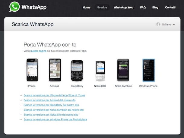 Screenshot che mostra come si installa WhatsApp