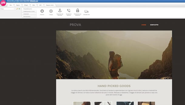 Screenshot che mostra come fare un sito gratis con Yola