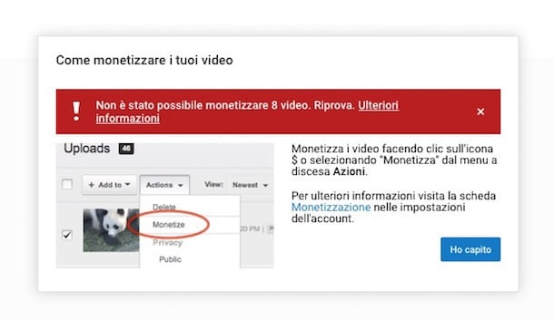 Screenshot che mostra come guadagnare soldi con YouTube