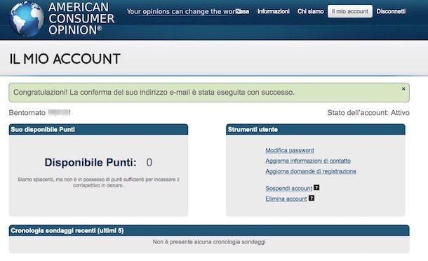 Screenshot che mostra come guadagnare con i sondaggi tramite American Consumer Opinioni