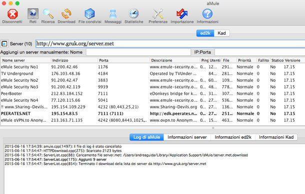 nuova lista server emule