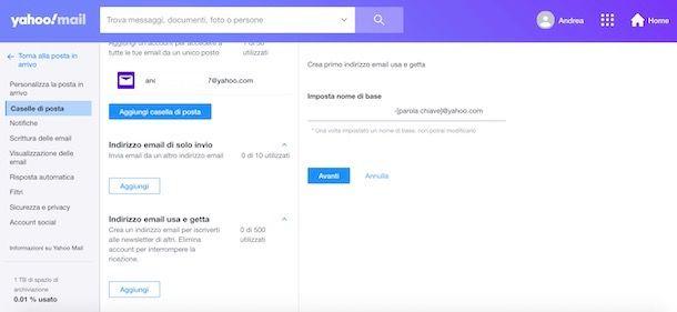 Come creare alias email Yahoo