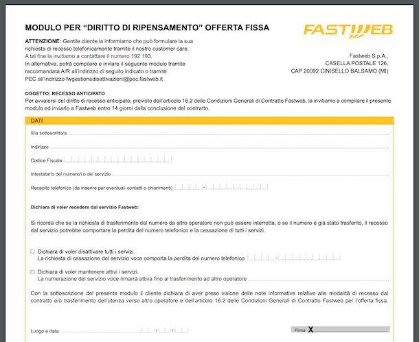 Modulo per diritto di ripensamento Fastweb