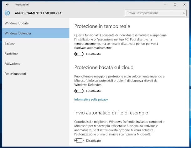 Come disinstallare Windows Defender