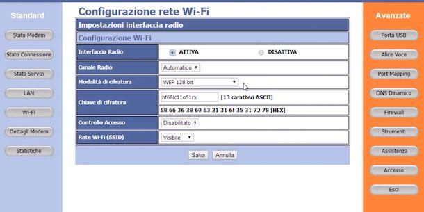 Cambiare la password del Wi-Fi del modem Alice