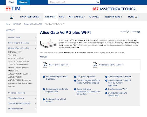 Sezione del sito Internet di TIM dedicata all'assistenza per i modem