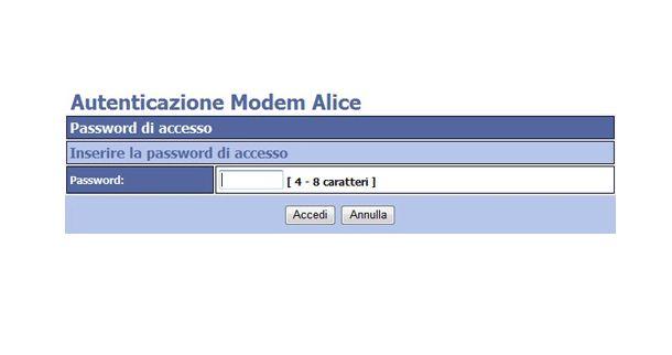 Password accesso modem Alice