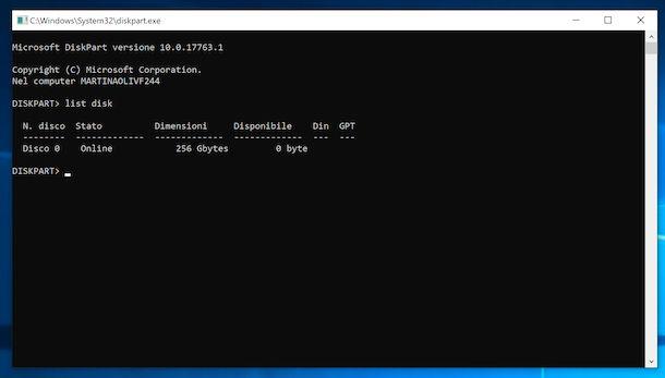 Diskpart Prompt dei comandi Windows 10