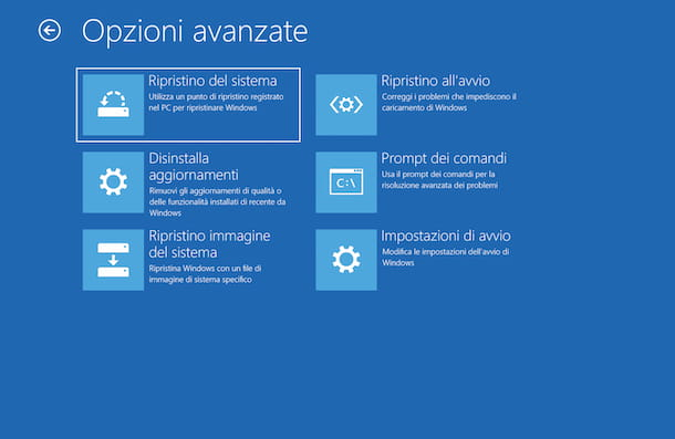Windows 10 Ripristino all'avvio