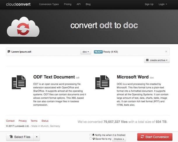 Come convertire ODT in DOC