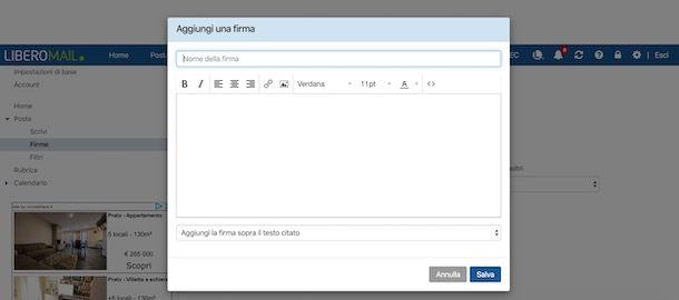 Comecreare firma email Libero