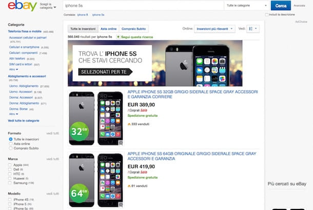 Screenshot che mostra come comprare iPhone 5S