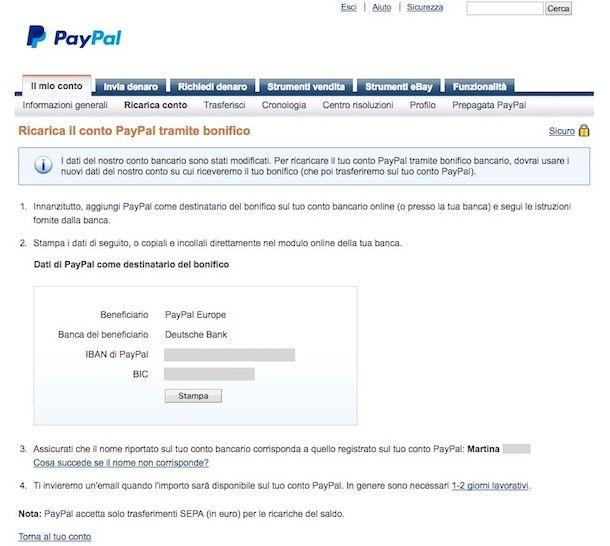 Come ricaricare PayPal con bonifico