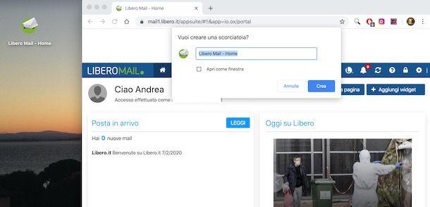 Come creare icona di Libero email sul desktop