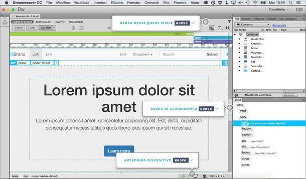 creare siti web dinamici con mac