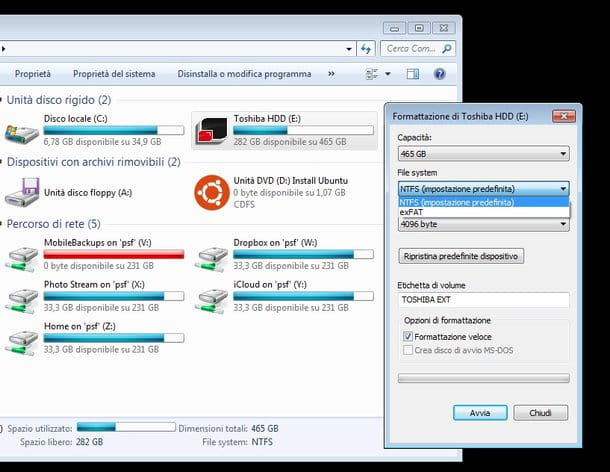 Screenshot che mostra come formattare hard disk su Windows