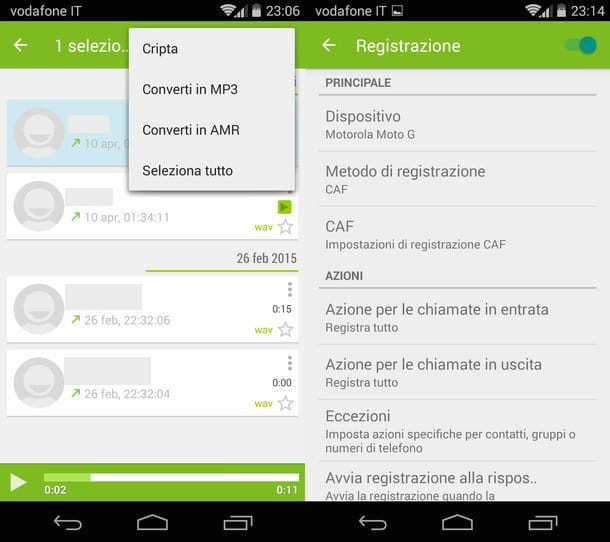 Screenshot che mostra come registrare telefonate