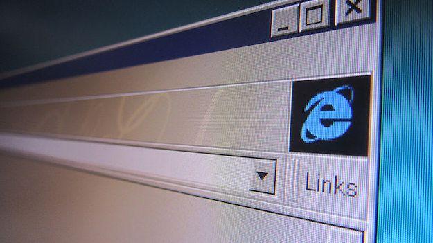 Foto che mostra il logo di Internet Explorer nella finestra del browser