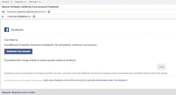 Screenshot che mostra come creare account Facebook