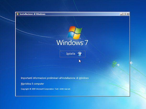 Screenshot che mostra come ripristinare Windows 7 senza CD