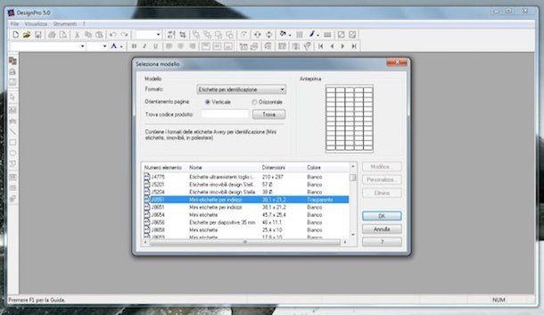 Screenshot che mostra come stampare etichette adesive