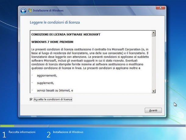 Screenshot che mostra come installare Win 7 da USB