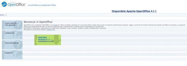Screenshot del sito Internet di OpenOffice