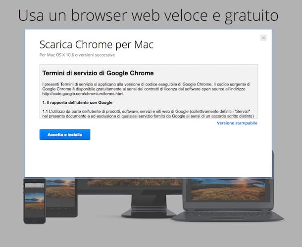 Screenhost che mostra come installare Chrome