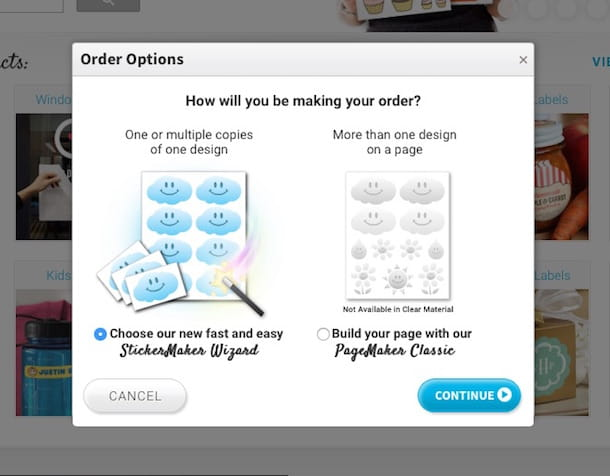 Screenshot che mostra come stampare adesivi