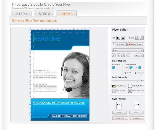 Screenshot che mostra come stampare volantini