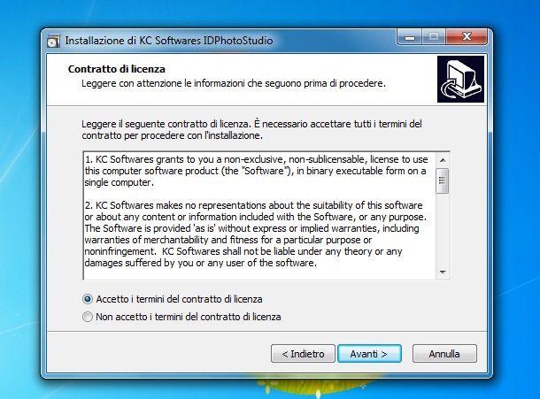 Screenshot che mostra come stampare fototessere
