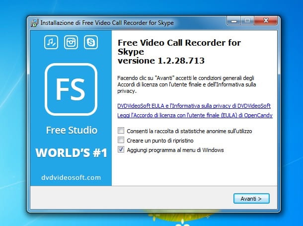 Screenshot che mostra come registrare video Skype