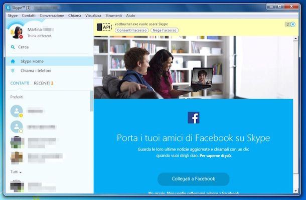 Screenshot che mostra come registrare video Skype