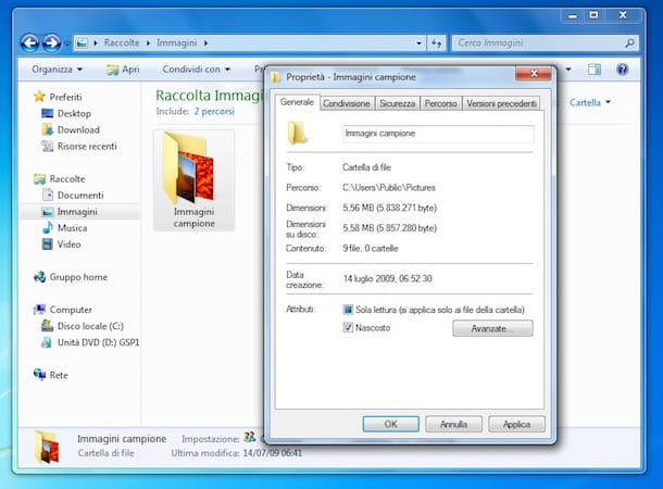 Screenshot che mostra come visualizzare cartelle nascoste Windows 7