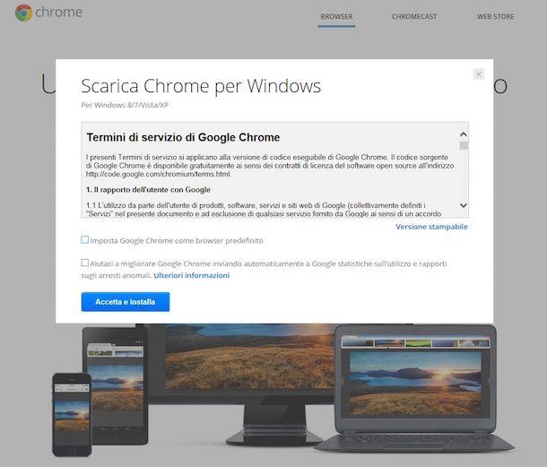 Screenhost che mostra come installare Chrome