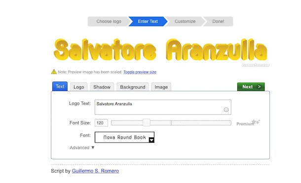 Screenshot che mostra come creare scritte personalizzare