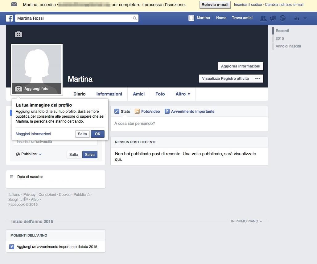 Screenshot che mostra come creare profilo Facebook
