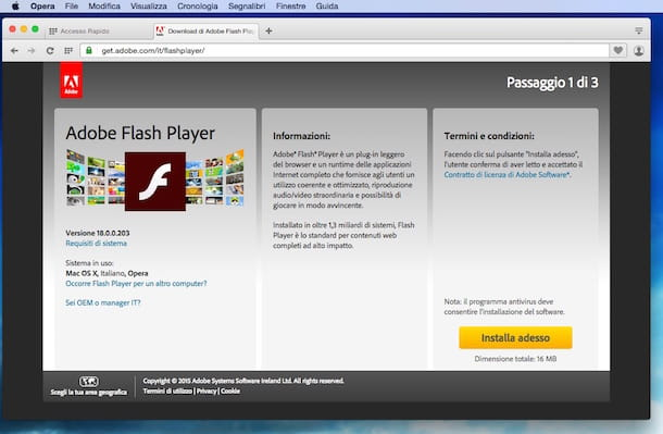 Screenshot che mostra come scaricare Flash Player gratis