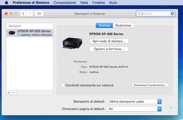 Screenshot che mostra come installare stampante WiFi