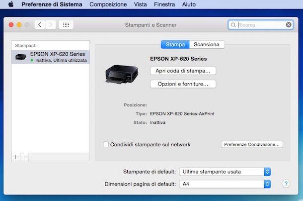 Screenshot che mostra come resettare stampante Epson