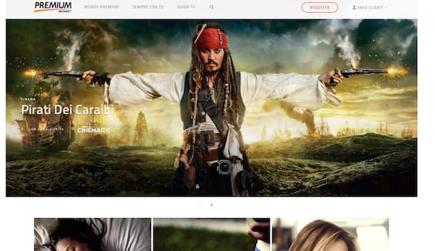 Screenshot che mostra come abbonarsi a Mediaset Premium